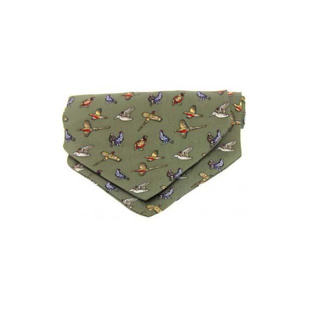 Country Birds on Green Silk Twill Cravat