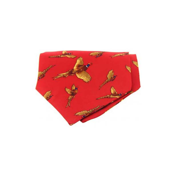 Flying Pheasant on Red Silk Twill Cravat