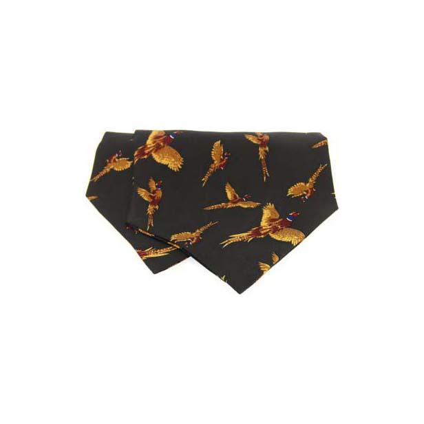 Flying Pheasant on Green Silk Twill Cravat