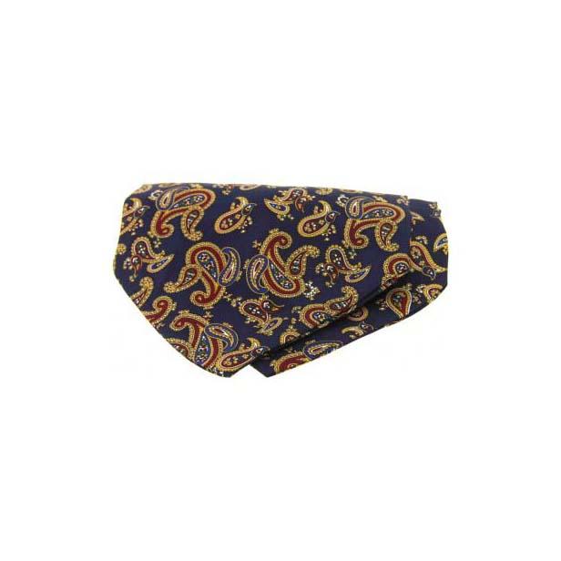 Large Navy Paisley Silk Twill Cravat