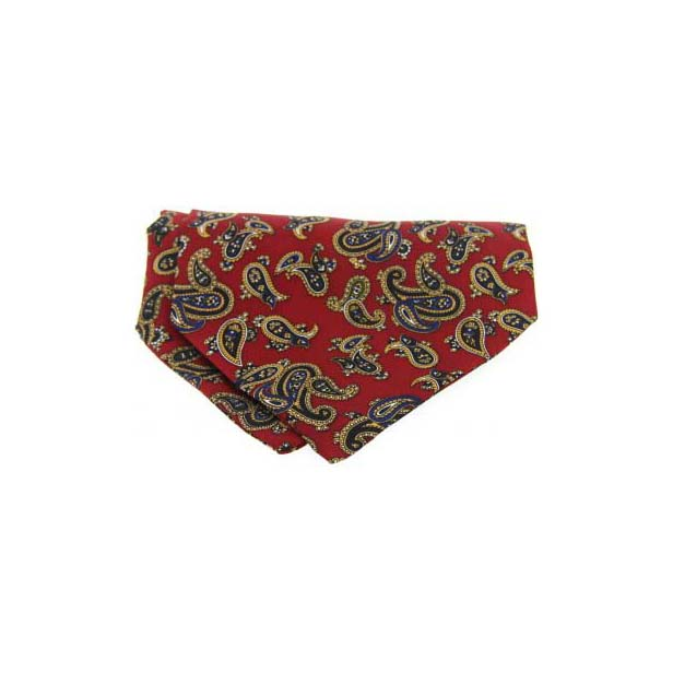 Large Red Paisley Silk Twill Cravat