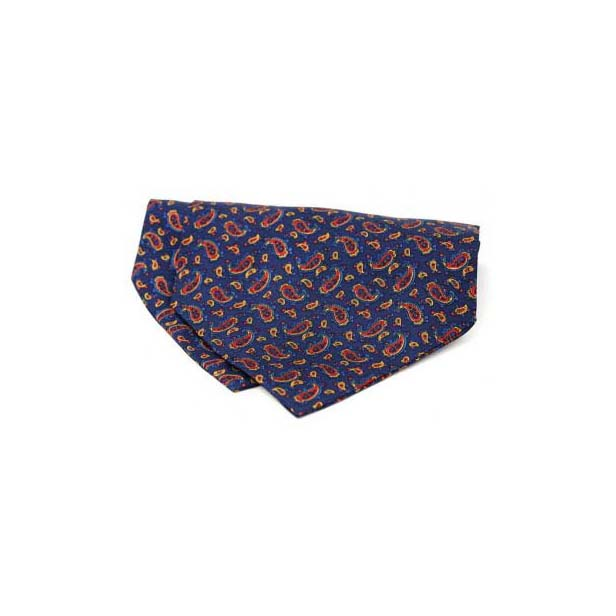 Small Navy Paisley Silk Twill Cravat