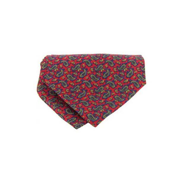 Small Red Paisley Silk Twill Cravat