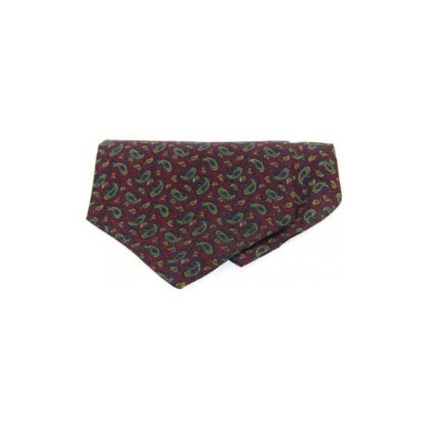 Small Wine Paisley Silk Twill Cravat