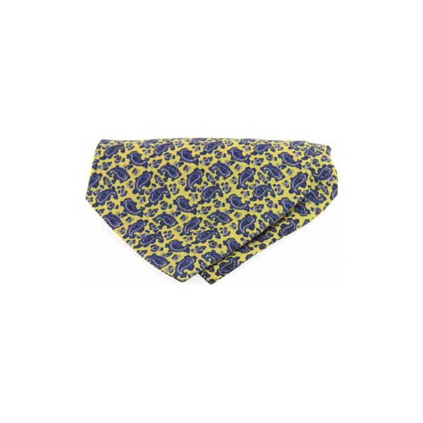Small Yellow Paisley Silk Twill Cravat