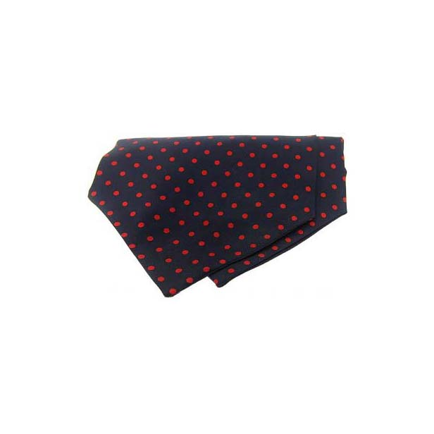 Red Polka Dots on Navy Silk Twill Cravat