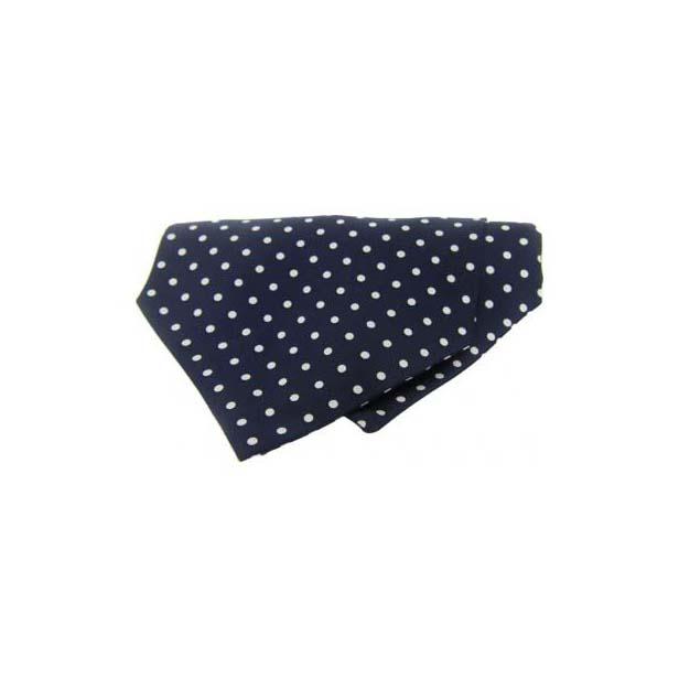 White Polka Dots on a Navy Silk Twill Cravat