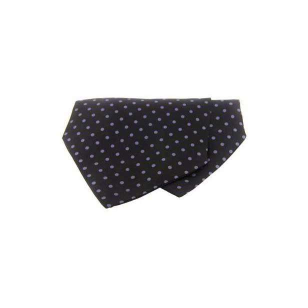 Grey Polka Dots on Black Silk Twill Cravat