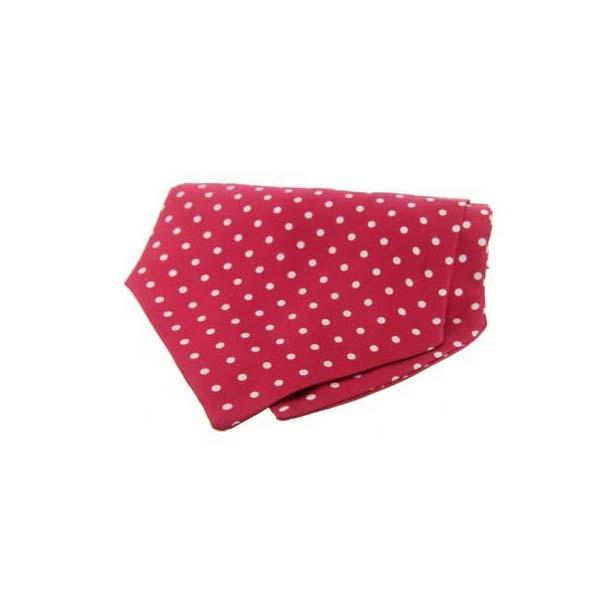 White Polka Dots on Red Silk Twill Cravat