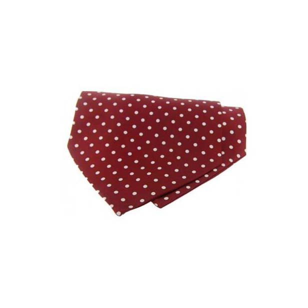 White Polka Dots on Wine Silk Twill Cravat
