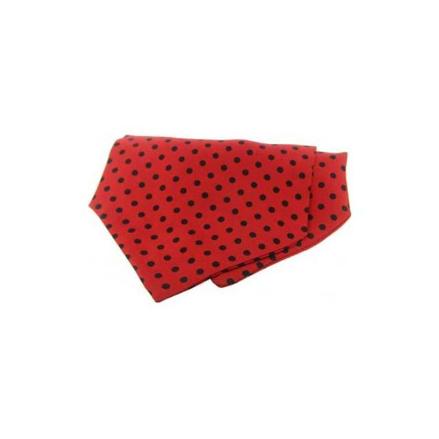 Black Polka Dots on Red Silk Twill Cravat