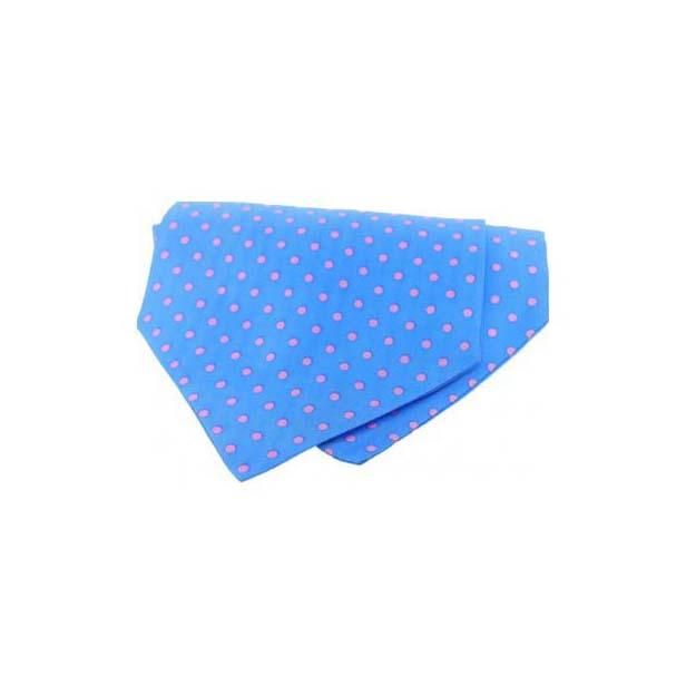 Pink Polka Dots on Sky Blue Silk Twill Cravat