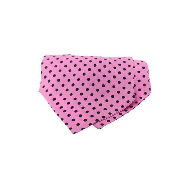 Black Polka Dots on Pink Silk Twill Cravat