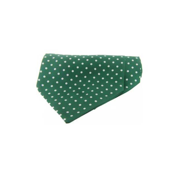 White Polka Dots on Green Silk Twill Cravat