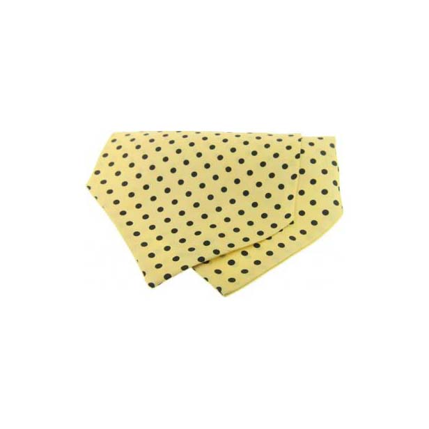 Black Polka Dots on Yellow Silk Twill Cravat