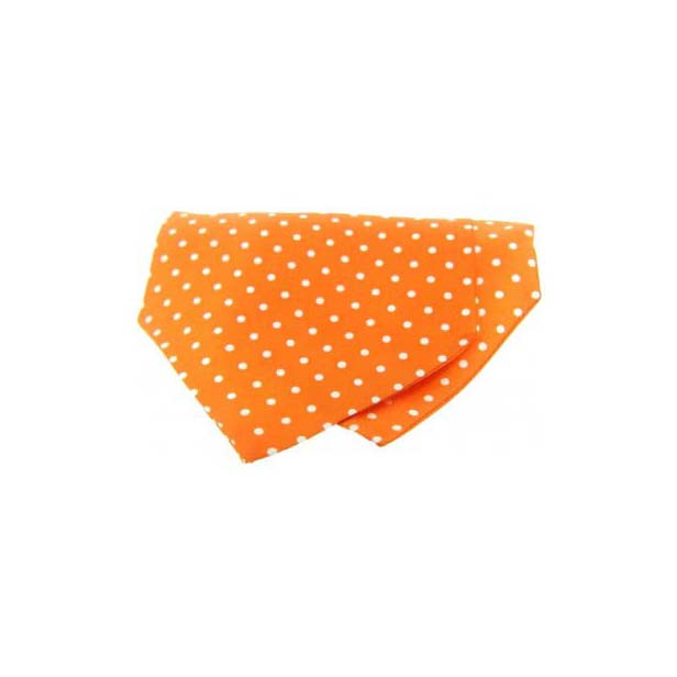 White Polka Dots on Orange Silk Twill Cravat
