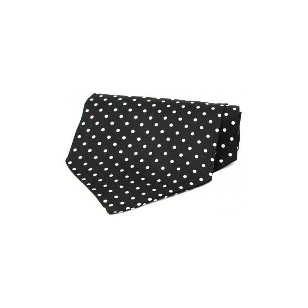 White Polka Dots on Black Silk Twill Cravat
