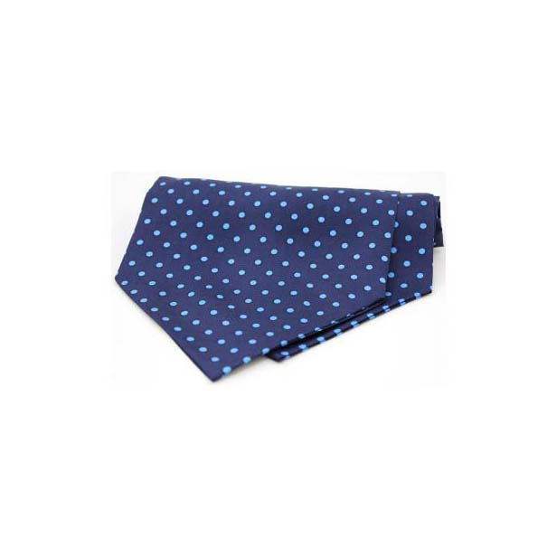 Light Blue Polka Dots on a Navy Silk Twill Cravat