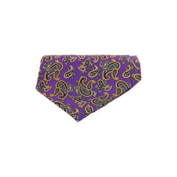 Purple Paisley Silk Twill Cravat