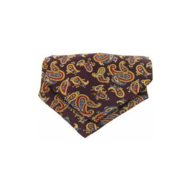 Wine Paisley Silk Twill Cravat