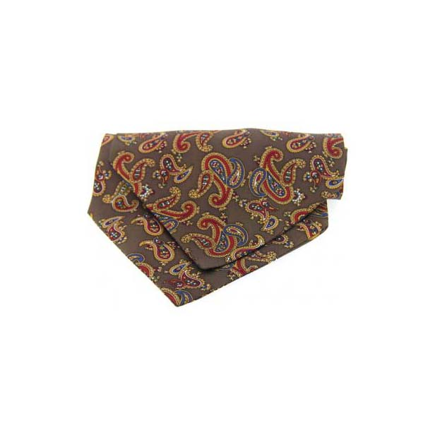 Brown Paisley Silk Twill Cravat