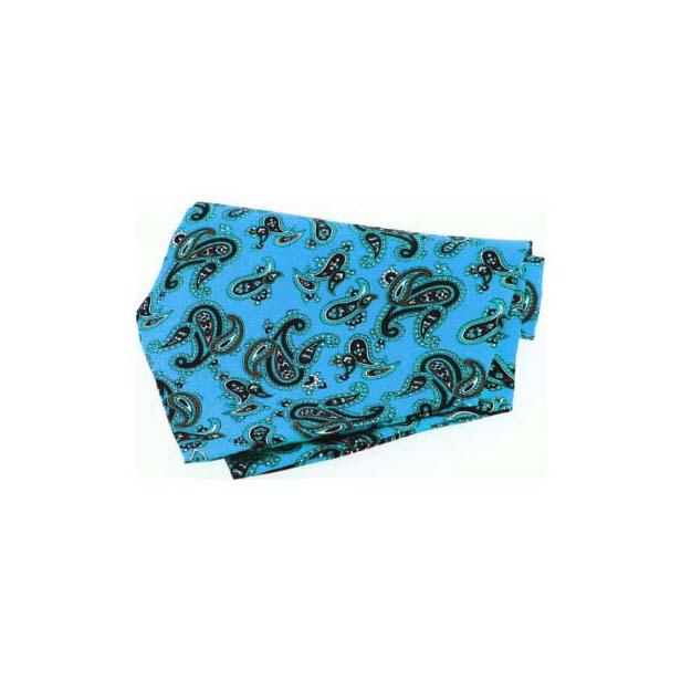 Cyan Paisley Silk Twill Cravat