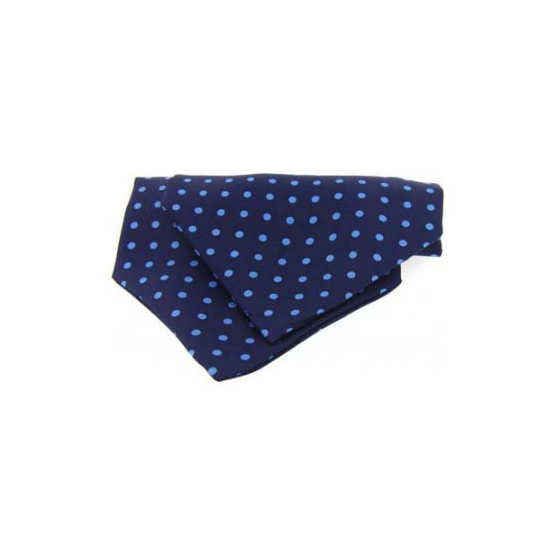 Blue Polka Dot Silk Cravat
