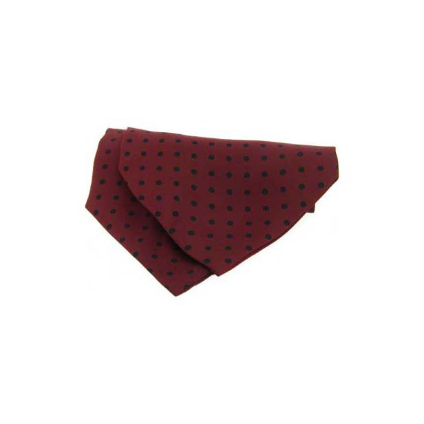 Wine with Navy Polka Dot Silk Cravat