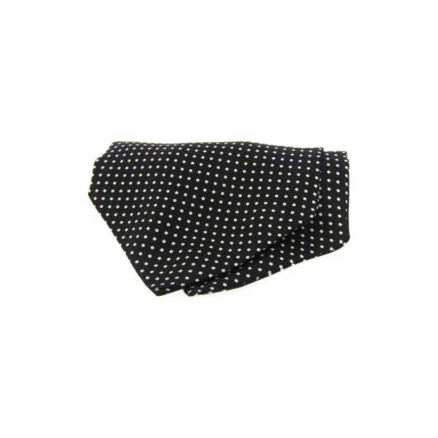Black and White Pin Dot Silk Cravat