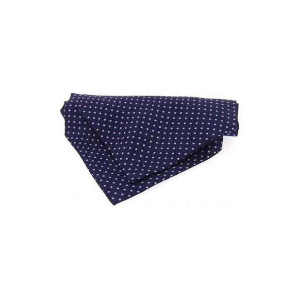 Lilac and Navy Pin Dot Silk Cravat