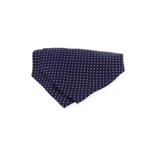 Pink and Navy Pin Dot Silk Cravat
