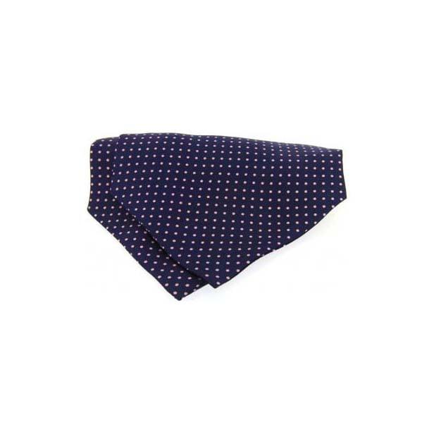 Pink and Navy Pin Dot Silk Cravat