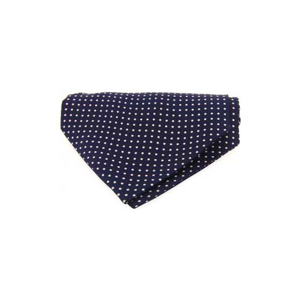 White and Navy Pin Dot Silk Cravat