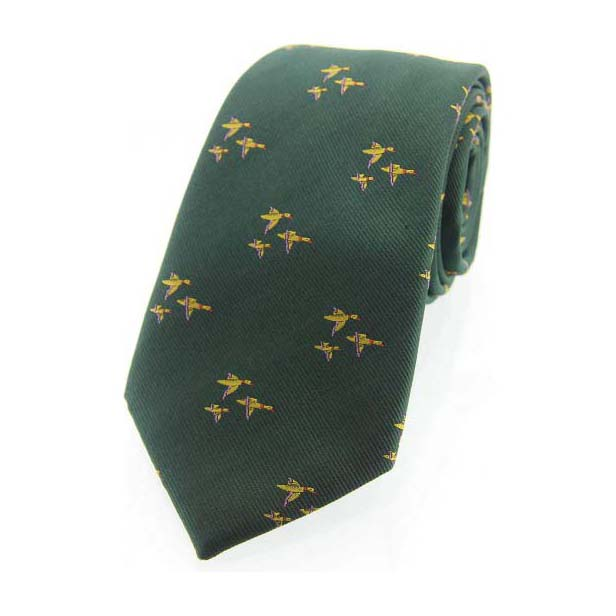 Flying Ducks Green Country Silk Tie