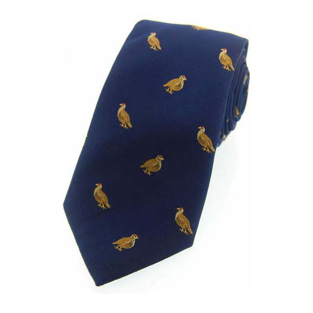 Grouse on Navy Blue Country Silk Tie