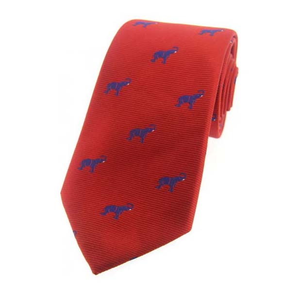 Blue Elephants on Red Country Silk Tie