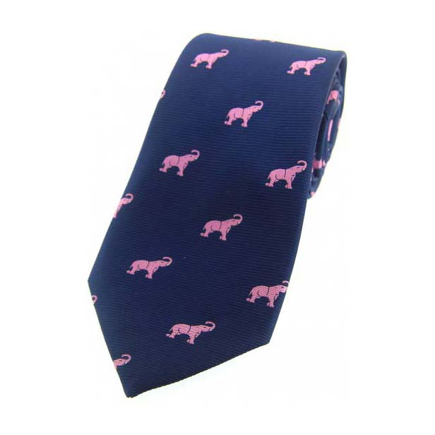 Pink Elephants on Navy Blue Country Silk Tie