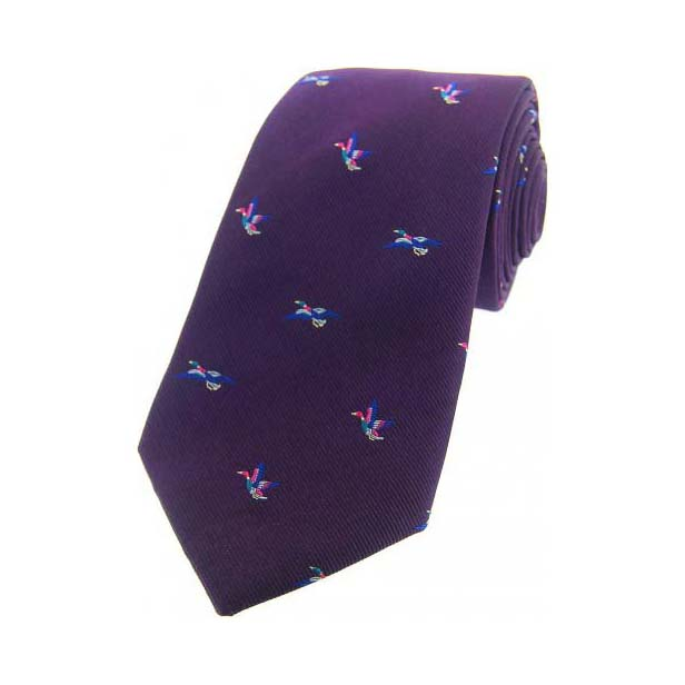 Flying Ducks Purple Country Silk Tie