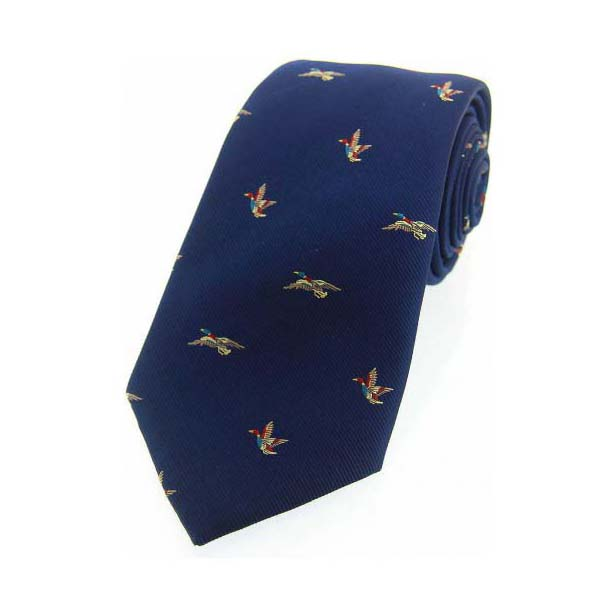 Flying Ducks on Blue Country Silk Tie