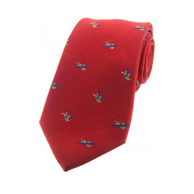 Flying Ducks Red Country Silk Tie