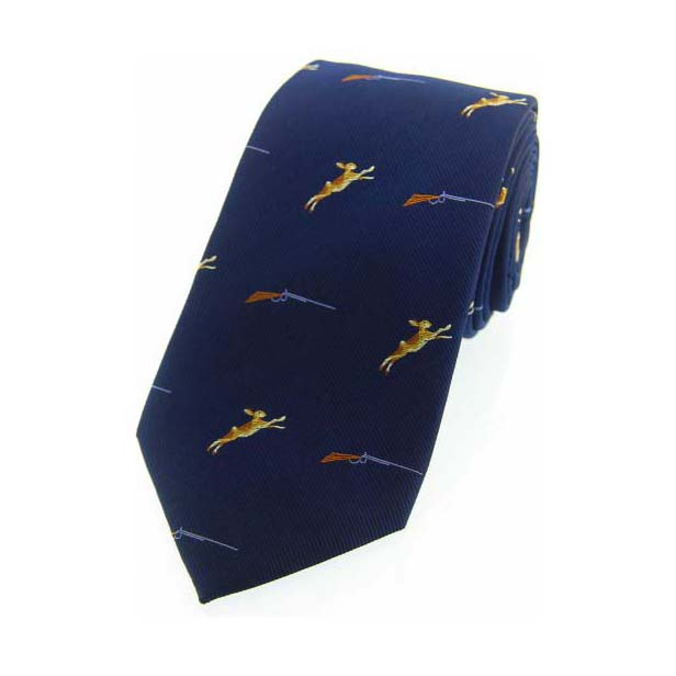 Hares and Shotguns on Blue Country Silk Tie