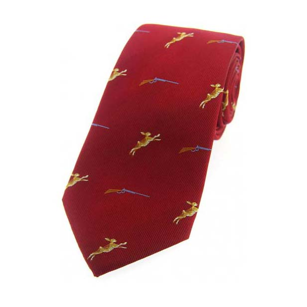 Hares and Shotguns on Red Country Silk Tie