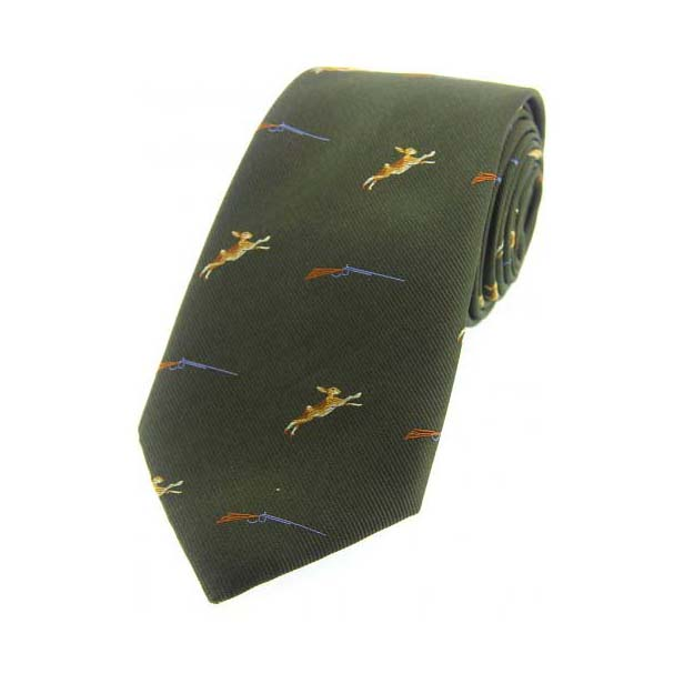 Hares and Shotguns on Green Country Silk Tie