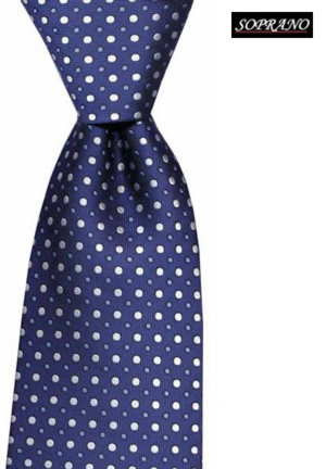Woven Silk Blue Pin And Polka Design Tie