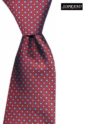 Woven Silk Pin And Polka Design Tie