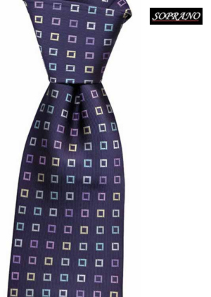 Woven Silk Navy Multi Colour Squares Tie