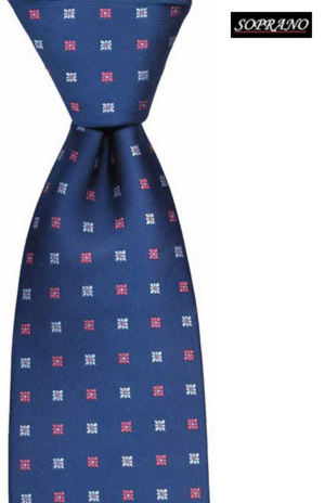 Woven Silk Navy Flowers Tie