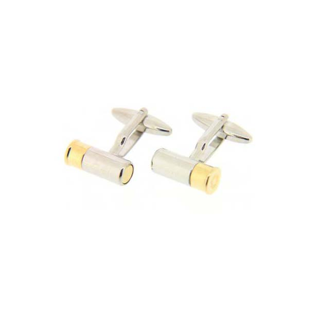 Gold and Silver Shotgun Cartridge Cufflinks