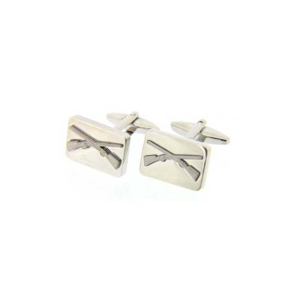 Crossed Shotguns on Rectangle Country Cufflinks