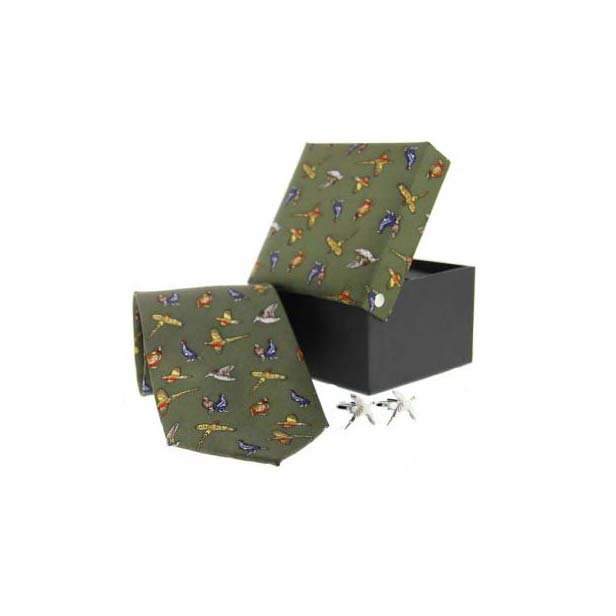 Green Country Pheasant Tie & Cufflink Set